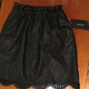 Brand new Zara lace trim leather skirt